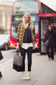 #StreetStyle just kinda works... bit printy, bit leathery... interesting combo. Eva in London.