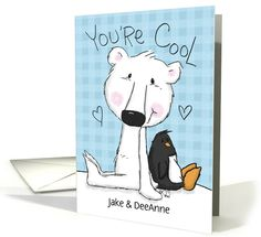 Polar Bear and Penguin- Customizable Names Happy Anniversary to Couple card