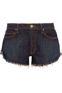 The Great - The Cut Off Frayed Denim Shorts - Navy -