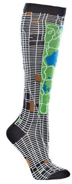 These are entirely too fun!! Ozone Design Inc Ozone NYC Map Knee High Sock - Grey