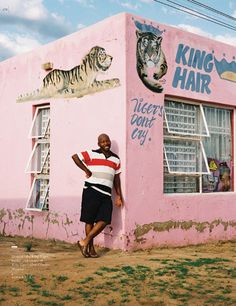 South African Township Barbershops Salons: I love the barber leaning against this soft pink wall! West Africa, South Africa, Barber Sign, Image King, Painted Signs, Hand Painted, Graphic Design Illustration, Signage, Street Art