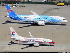 Airliners.net ‏- Size comparison between a China Eastern Airlines B737-7W0 And China Southern Airlines' Beautiful B787-8 Dreamliner...