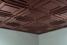 Fasade Coffer Oil Rubbed Bronze Square Lay-in Ceiling Tile (Sample), Brown(Plastic) Copper Ceiling Tiles, Drop Ceiling Tiles, Ceiling Grid, Dropped Ceiling, Ceiling Panels, Ceiling Decor, Ceiling Beams, Coffered Ceilings, Ceiling Canopy