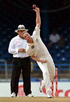 Australian bowler Michael Beer delivers during the third day of the second-of-three Test matches between Australia and West Indies April 17, 2012 at Queen's Park Oval in Port of Spain, Trinidad.