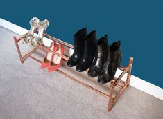 Copper Shoe Rack Rose Gold Industrial Shoe Rail by HylandandBoot