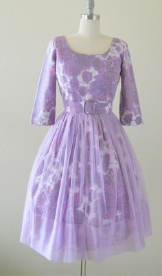 vintage 1950's purple posies party dress with sheer lilac chiffon overlay l takes my breath away!