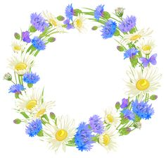 Field-flowers-wreath-clipart.png (3751×3561)