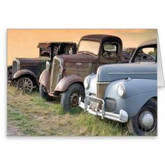 Vintage Trucks and Cars Greeting Card | Zazzle