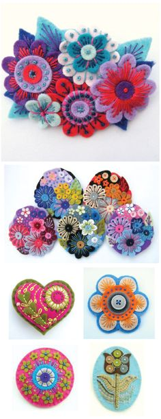 felt flowers (no tutorial, just inspiration) I love the top one, add some watch parts in the middle and you've got something I could get married in! lol