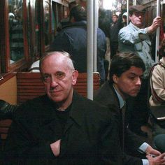Cardinal Jorge Borgoglio, now known as Pope Francis, riding the subway in Argentina when he was Cardinal.