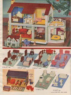 Happi-Time Cardboard Dollhouse, Furniture and School House, 1947 Cardboard Dollhouse, Dollhouse Dolls, Dollhouse Miniatures, Dollhouse Ideas, Modern Dollhouse Furniture, Doll Furniture, Paper Furniture, Furniture Sets, Vintage Dollhouse