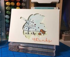 Stampin Utopia Bestel Stampin' Up! Hier. lighthearted leaves, thank you card, happy scenes, scene done with markers and sponge daubers
