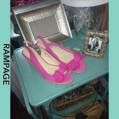 Rampage pink wedge shoes Pink fabric, wedge. Style name: Dezie . Like new Rampage Shoes Wedges