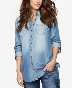 A Pea in the Pod Maternity Chambray Shirt Women - Maternity - Macy's Mommy Style, Plus Size Activewear, Dresses With Leggings, Baby Clothes Shops, Trendy Plus Size, Chambray, Clothes For Women, Shirts, Nursing