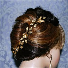 #Bohemian Gold Rhinestones Pave Floral Leaves #Boho  3 Hair Pins  Hairpin Set  Bridal #Wedding #Bride piece #Woodland Outdoor Accessories  Nature $68