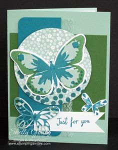 Stampin' Up! Watercolor Wings in Mint Macaron Color Combination.  Ever make a card you love so much you can't wait to show it off to your friends? That's how I feel about my Watercolor Wings card.  Order the Stampin' Up! Watercolor Wings Stamp Set in my online store www.shopwithshelly.com  #watercolorwingscards #stampinupcardideas #butterflycardideas