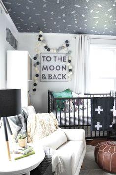 Gender neutral nursery. Perfect for a baby boy or girl. Love the ceiling. #ad #nurseryideas #wallpaper #nurserydecor #nursery #babyroom #boyroom #boynursery #genderneutralnursery