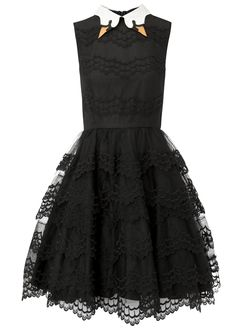 RED Valentino black lace dress Embroidered swan collar, scalloped trim, tiered skirt, detachable net lining, fully lined Concealed zip fastening through back Fabric1: 100% polyester; fabric2: 97% cotton, 3% elastane