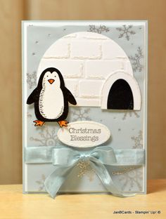 This is another penguin card that I'm really please with! The penguin is from the Stampin' Up! Snow Place Stamp Set.