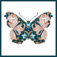 Butterfly with art nouveau pattern