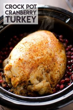 Crock Pot Turkey Breast with Cranberry Sauce is a delicious slow cooker recipe perfect for a small crowd at the holidays. A small breast is cooked and infused with a homemade cranberry sauce for amazing flavors! #CrockPot #Turkey #Holidays