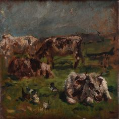 """Twentieth Century British Art by Mark Fisher: """"Cows and chickens, circa Cows, Impressionism, Fisher, Modern Art, Victorian, Painting, Animals, Animales, Animaux"""