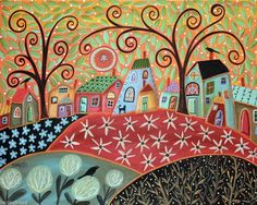 Spring Time CANVAS PAINTING 20x16 inch ABSTRACT FOLK ART LANDSCAPE Karla Gerard..NEW for sale, ready to hang...check it out..
