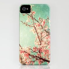 Pink Autumn Leafs on Blue Textured Sky (Vintage Nature Photography) iPhone Case by Andreka
