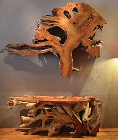 Root slices as Wall Art and Maka tree root consoles. One of kind. Various sizes in Stock. Sequoia Santa Fe Gallery