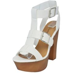 Breckelles Women's Renee-21 Open Toe Strappy Buckle Platform Chunky Heel Sandal, White, 11 M US ** See this great product.
