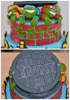 "Teenage Mutant Ninja Turtle or TMNT. Some angry ninja turtles, a sweet ""pizza"" and a happy birthday boy"