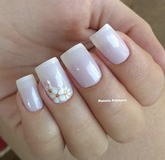 Uñas de flores Fabulous Nails, Gorgeous Nails, Pretty Nails, Purple Nails, White Nails, Gel Nail Art, Acrylic Nails, Edgy Nail Art, Different Types Of Nails