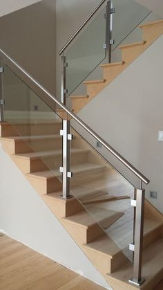 Modern Staircase Design Ideas - Stairways are so typical that you don't provide a second thought. Check out best 10 examples of modern staircase that are as spectacular as they are . Glass Stairs Design, Steel Railing Design, Staircase Railing Design, Modern Stair Railing, Home Stairs Design, Balcony Railing Design, Interior Stairs, House Design, Glass Stair Railing