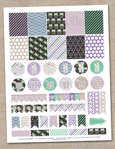 Floral Elements Purple Planner Stickers Set Instant Download DIY Printable PDF with Checklists Weekend Banners