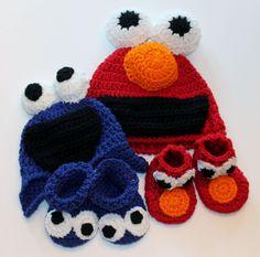 Sesame Street Monster Baby Booties Cookie by sunshineknitandsew, $20.00