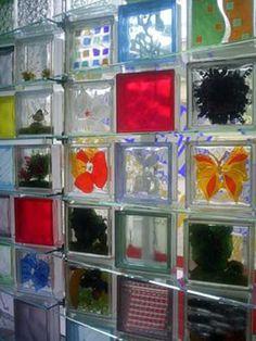 Ideas on using glass block in home decor.  *Can do this when replacing detached garage windows with glass blocks.