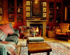 Velvets, tartans and corduroy combine to create a feeling of warmth and comfort in this informal living room-английский стиль Living Room Red, Living Room Decor, Cozy Living, Salons Cottage, Hunting Lodge Decor, Hunting Lodge Interiors, Scottish Decor, Irish Decor, Br House