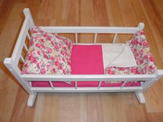 Re-furbished White Wood Vintage Doll Cradle w/ custom made bedding made by Donna @ The Sewing Room