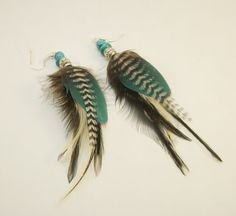 Black and blue feather earrings real feather by FeathersnThingz