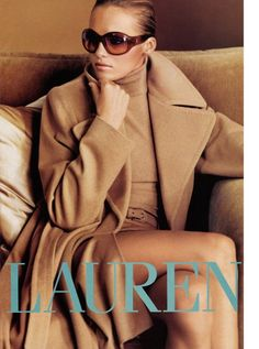 Camel head to toe with dark glasses ~ Ralph Lauren's Iconic Ad Campaigns
