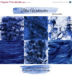 "50% OFF Watercolor Digital Paper: ""Blue Watercolor"" blue digital paper, watercolor textures, scrapbooking paper, dark blue, grunge watercolo"