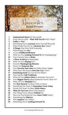 30 Journal Prompts for each day of November - start journaling today!