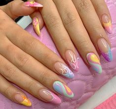 Best Acrylic Nails, Acrylic Nail Designs, Funky Nail Designs, Stylish Nails, Trendy Nails, Acylic Nails, Funky Nails, Funky Nail Art, Fire Nails