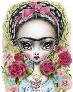 8x10 Fine Art Print-Frida and the Butterfly by FairRosamund