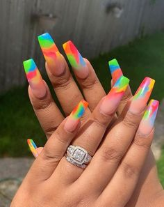 French Nails Neon # nails Many women prefer to attend the hairdresser even if they … Tie Dye Nails, Summer Acrylic Nails, Best Acrylic Nails, Summer Nails, Spring Nails, Nail Art Designs, Acrylic Nail Designs, Nails Design, Long Nails