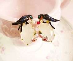Find More Drop Earrings Information about 2015 New spring The swallow earring series les nereides  The swallow gem earrings/ear clip Free shipping,High Quality clip earring backs,China clip safe Suppliers, Cheap earring supplies from Mak fashion jewelry store on Aliexpress.com