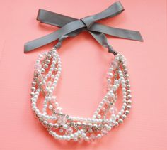Pearl and Rhinestone Statement Necklace Bridal by GrevinaDesigns, $36.00