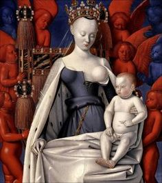Sherman posed as the figures in famous paintings, such as this Madonna by Jean Fouquet (Source: Wikimedia Commons)