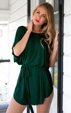 It's easy to look stylish without trying too hard with this green t-shirt dress.