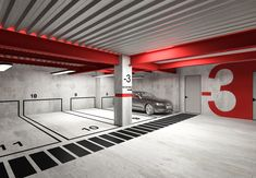 Modern Parking Design by Shirin Moshiri Parking Signs, Parking Lot, Car Parking, Floor Signage, Cafe Design, Interior Design, Basement Painting, Office Workspace, Architecture Photo